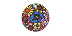 Psychedelic Blooms Etched & Printed Gold Finish Coin Focal 20mm