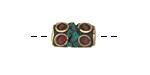 Tibetan Brass Barrel Bead w/ Coral & Turquoise Mosaic 12-17x8-10mm