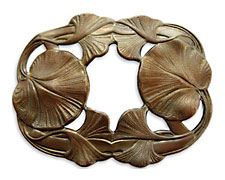 Vintaj Natural Brass Maidenhair Leaves Pendant 68x53mm