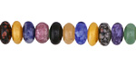 Multi Gemstone (Brazil Sodalite, Red & Green Aventurine, Leopardskin Jasper, Rhodonite) Rondelle 8mm