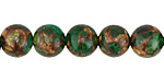Kelly Green Opal w/ Bronzite Marbled Quartz Round 10mm