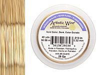 Artistic Wire Silver Plated Gold 28 gauge, 40 yards