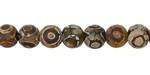 Tibetan (Dzi) Agate Matte Dark Round 8mm