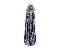 Midnight w/ Silver Luster Crystal Tassel w/ Fanned Pave Cap 21x105mm