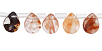 Red Rutilated Quartz Faceted Flat Teardrop 8x10mm