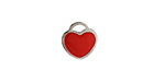 Cherry Red Enamel Stainless Steel Heart Charm 11x12mm