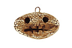 Earthenwood Studio Ceramic Crackle Root Skull Wide Frown Pendant 29x20mm