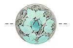 Czech Glass Mint Green Trillium Button 27mm