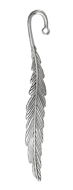 Zola Elements Antique Silver (plated) Feather Plume Bookmark 117mm