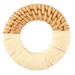 Sand Raffia Wrapped Natural Rattan-Style Woven Ring Focal 39-42mm