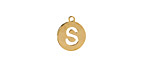 """Gold (plated) Stainless Steel Initial Coin Charm """"S"""" 10x12mm"""