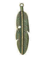 Zola Elements Patina Green Brass Wrapped Feather Pendant 15x59mm
