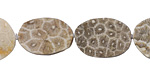 Fossil Jasper (matte) Rough Face Freeform Flat Oval 17-24x15-16mm