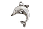 Greek Pewter Leaping Dolphin Pendant 24x30mm