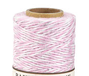 Light Pink/White & Metallic Silver Bakers Twine 2 ply, 410 ft