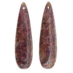 Lepidolite (stabilized) Thin Teardrop Pendant Pair 12x46mm