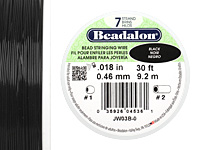 "Beadalon Black .018"" 7 Strand Wire 30ft."