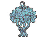 Greek Copper (plated) Patina Double Sided Tree of Life Pendant 30x40mm