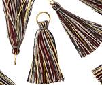 Burgundy Mix w/ Metallic Gold & Jump Ring Thread Tassel 30mm