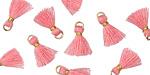 Bubblegum Pink w/ Gold Binding & Jump Ring Tiny Thread Tassel 12mm
