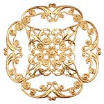 Brass Diamond Filigree Pendant 47mm