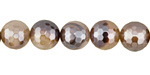 Brown Line Agate w/ Silver Luster Faceted Round 10mm