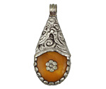 Tibetan White Brass Floral Trimmed Resin Amber Drop 25-26x54-57mm