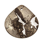 Golden Pyrite (silver tone in resin) Flat Teardrop Pendant 40mm