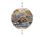 Grace Lampwork Beige and Ivory Free Style Lentil 27-28mm