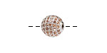 Silver (plated) & Light Peach CZ Micro Pave Round 10mm