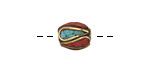 Tibetan Brass Rice Bead w/ Turquoise & Coral Mosaic Plumes 11x9-10mm