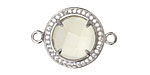 Yellow Quartz Silver (plated) and Rhinestones Coin Link 21mm