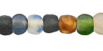 African Recycled Glass Earth Mix Tumbled Round 10-14mm