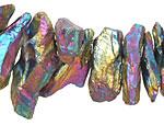 Metallic Rainbow Plated Quartz Graduated Shard Drops 5-12x15-25mm