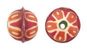 Hand Painted Orange Daisy Leather Round Bead 20-22mm