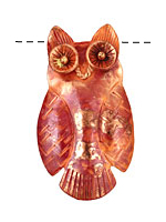 Patricia Healey Copper Owl Pendant 30x55mm