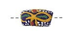 African Handpainted Cobalt Powder Glass (Krobo) Bead 18-25x10mm