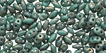 Turquoise Copper Picasso SuperDuo 2x5mm Seed Bead
