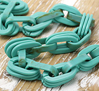 Marbled Turquoise Acrylic 1-3 Flat Cable Chain 35-36x19-21mm