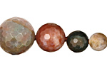 Fancy Jasper Faceted Round Graduated 8-20mm
