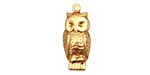 Brass Perched Owl Charm 10x22mm