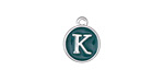 "Peacock Green Enamel Silver Finish Initial Coin Charm ""K"" 12x14mm"