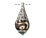 Tibetan (Dzi) Agate & White Brass Teardrop Pendant w/ Turquoise Tip 15x37mm