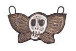 Gaea Ceramic White On Cream Skull Moth Pendant 41x25mm