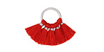 Red Small Fanned Tassel on Ring w/ Silver Finish 29x19mm