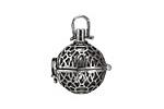 Antique Rhodium (plated) Lotus Filigree Diffuser Locket 15x25mm