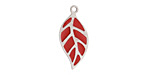 Cherry Red Enamel Stainless Steel Falling Leaf Focal 10x22mm