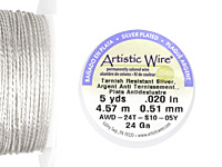 Twisted Artistic Wire Non-Tarnish Silver 24 gauge, 5 yards