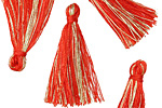 Tomato Red w/ Metallic Gold Thread Tassel 30mm