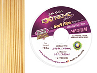 "Soft Flex Extreme 24K Gold .019"" (Medium) 19 Strand Wire 10ft."